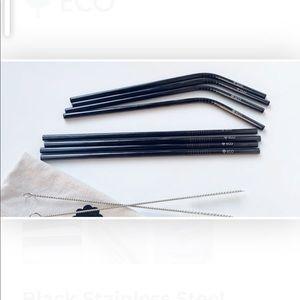 Black stainless steel straws